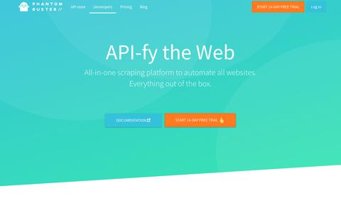 Screenshot of Developers Page phantombuster.com - Phantombuster: API-fy the Web - captured July 17, 2018