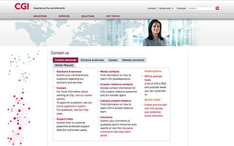 Screenshot of Contact Page cgi.com - Contact us - resources | CGI.com - captured March 29, 2016