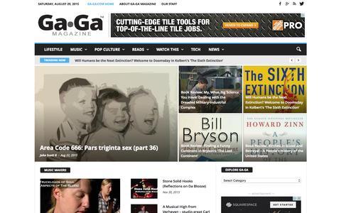 Screenshot of Home Page ga-ga.com - GA-GA : magazine of art, culture, fiction, film, food, TV - captured Aug. 29, 2015