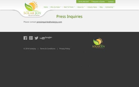 Screenshot of Press Page solarjoy.com - Press - Solar Joy - captured Oct. 26, 2014