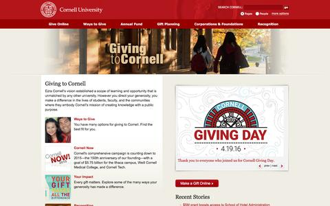 Giving to Cornell | Cornell University