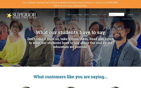 Screenshot of Testimonials Page superiorschoolnc.com - Testimonials - Superior School of Real Estate - captured Oct. 18, 2018