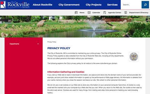 Screenshot of Privacy Page rockvillemd.gov - Privacy Policy | Rockville, MD - Official Website - captured Sept. 23, 2018