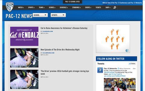 Screenshot of Press Page pac-12.com - Pac-12 News | Pac-12 - captured Sept. 25, 2014