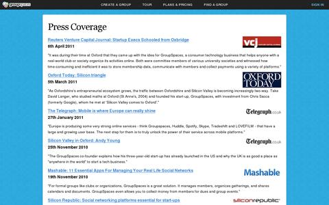 Screenshot of Press Page groupspaces.com - Press Coverage : GroupSpaces - captured July 20, 2014