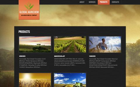 Screenshot of Products Page globalagrichem.com - Products  |  Global Agrichem - captured Oct. 27, 2014