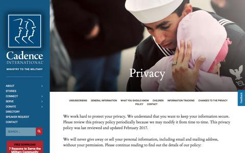 Screenshot of Privacy Page cadence.org - Privacy - Cadence - captured July 11, 2017