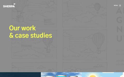 Screenshot of Case Studies Page sherpacreative.com - Case Studies - captured Sept. 20, 2018