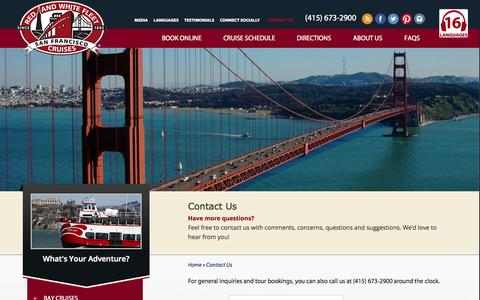 Screenshot of Contact Page redandwhite.com - Contact Us - Red and White Fleet Cruises - captured Oct. 9, 2014