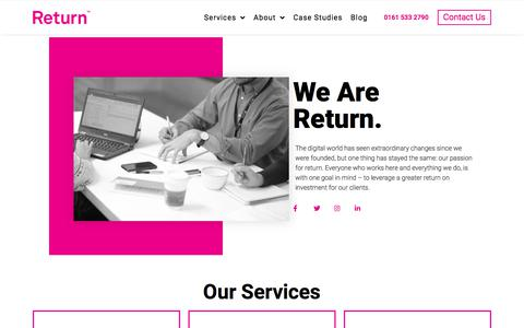 Screenshot of About Page return.co - About - Return - captured Nov. 12, 2019