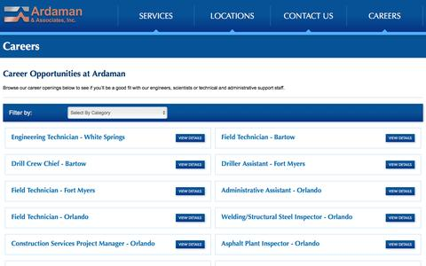 Screenshot of Jobs Page ardaman.com - Geotechnical Engineering Jobs | Environmental Engineering Jobs - captured Nov. 21, 2016