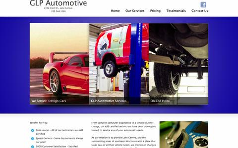 Screenshot of Home Page glpautomotive.com - GLP Automotive | 2492 Crest Dr., Lake Geneva - 262.248.3560GLP Automotive | 2492 Crest Dr., Lake Geneva – 262.248.3560 - captured Sept. 27, 2014