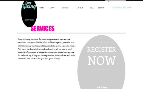 Screenshot of Services Page sunnynanny.com - Babysitting and nanny sevices | CYPRUS - captured May 19, 2017