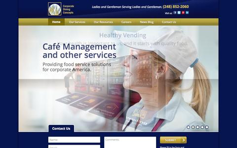 Screenshot of Home Page corporatediningconcepts.com - Corporate Employee Food Service, Vending, Food Management - captured Sept. 30, 2014