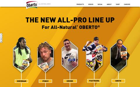 Screenshot of Home Page oberto.com - Oberto All Natural Jerky | High in Protein - captured Feb. 7, 2016