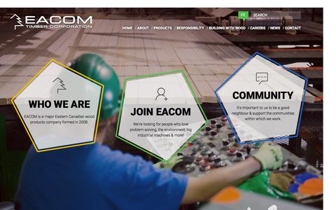 Screenshot of Home Page eacom.ca - HOME - EACOM Timber Corporation - captured Oct. 16, 2015