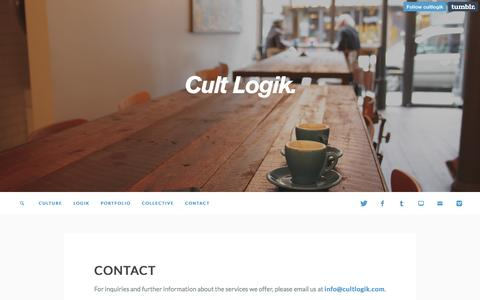 Screenshot of Contact Page cultlogik.com - Cult Logik. - Contact - captured Feb. 2, 2016