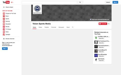 Screenshot of YouTube Page youtube.com - Vision Sports Media  - YouTube - captured Oct. 26, 2014