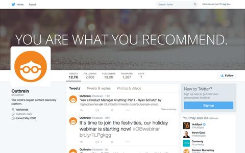 Screenshot of Twitter Page twitter.com - Outbrain (@Outbrain) | Twitter - captured Sept. 30, 2015