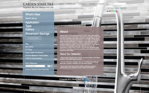 Screenshot of About Page gstile.com - About - Garden State Tile - captured Nov. 1, 2014