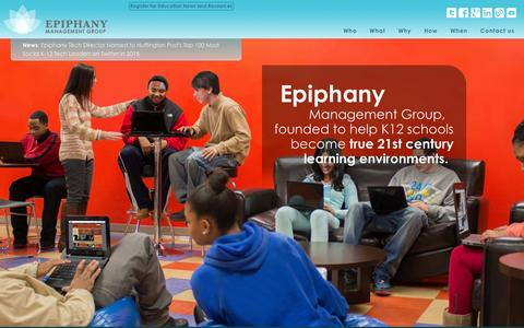 Screenshot of Home Page epiphanymgmt.com - Epiphany Management Group | K12 Solutions - captured Feb. 13, 2016