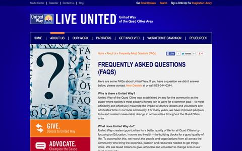 Screenshot of FAQ Page unitedwayqc.org - Frequently Asked Questions (FAQs) | United Way of the Quad Cities Area - captured Oct. 27, 2014