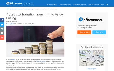 Screenshot of Pricing Page intuit.com - 7 Steps to Transition Your Firm to Value Pricing | Tax Pro Center | Intuit ProConnect - captured Nov. 21, 2019