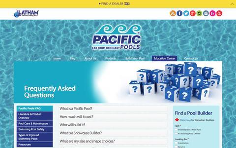 Screenshot of FAQ Page pacificpools.com - FAQ - Pacific Pools | In Ground Pools - captured Jan. 26, 2016