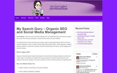 Screenshot of Home Page mysearchguru.com - MySearchGuru: Organic SEO and Social Media Management - captured Oct. 7, 2014