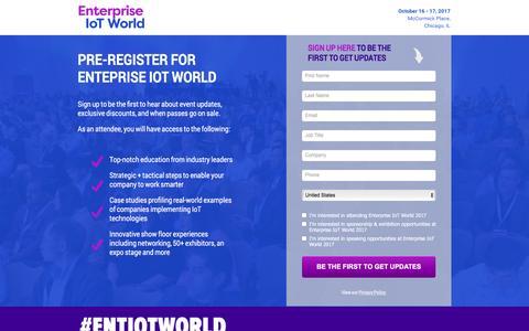 Screenshot of Landing Page knect365.com - Pre-Register | Enterprise IoT World - captured April 20, 2017
