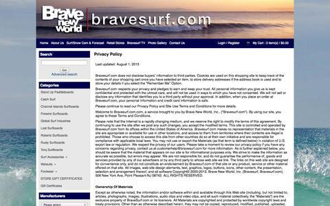 Screenshot of Privacy Page bravesurf.com - Privacy Policy: Brave New World Surf and Snow   www.bravesurf.com - captured Oct. 5, 2014