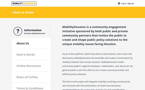 Screenshot of About Page Privacy Page Terms Page mobilityhouston.com - Information : MobilityHouston - captured July 8, 2018