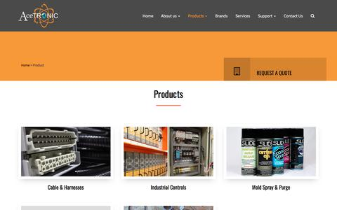 Screenshot of Products Page acetronic.com - AceTronic Industrial Controls |   Product - captured Oct. 7, 2017