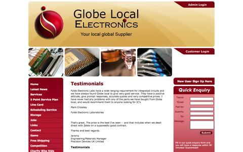 Screenshot of Testimonials Page globe-local.com - Globe Local Electronics - captured Oct. 2, 2014