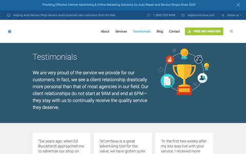 Screenshot of Testimonials Page ecommnow.com - Section: Testimonials | Online Marketing for Small Businesses - captured Dec. 8, 2018
