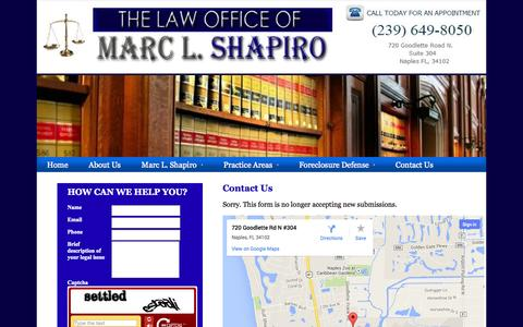 Screenshot of Contact Page attorneyshapiro.com - Contact Us - Law Offices of Marc L. Shapiro, P.A.| - captured Oct. 27, 2014