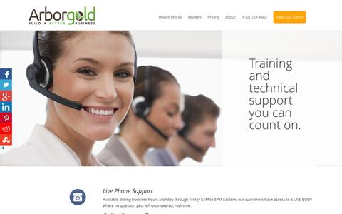 Screenshot of Support Page arborgold.com - Support - Tree Lawn and Landscape Software - captured Sept. 25, 2015