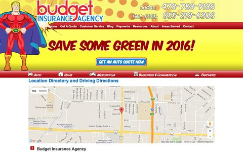 Screenshot of Locations Page budgetautoquote.com - Budget Insurance Agency Locations and Driving Directions - captured Feb. 8, 2016