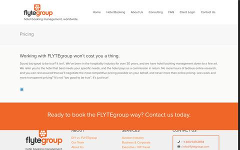 Screenshot of Pricing Page flytegroup.com - Pricing - FLYTE Group - captured Aug. 9, 2018
