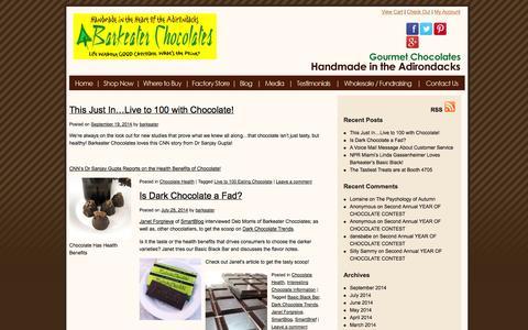 Screenshot of Blog barkeaterchocolates.com - Barkeater Handmade Gourmet Chocolate Blog | The Latest & Delicious From Our Adirondack Chocolate Kitchen | Barkeater Chocolates - captured Sept. 30, 2014