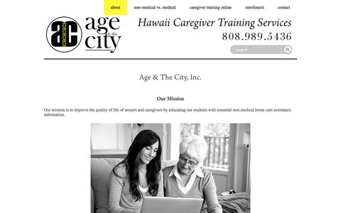 Screenshot of About Page ageandthecity.com - About •Age & the City - captured Sept. 5, 2016