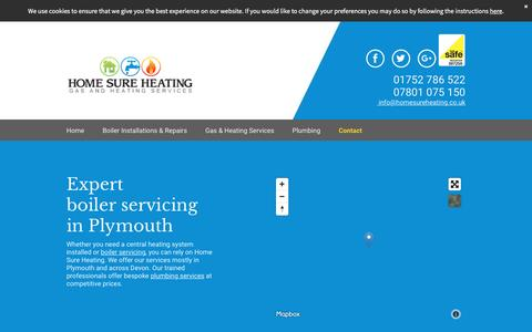 Screenshot of Contact Page homesureheating.co.uk - Boiler servicing in Plymouth by Home Sure Heating - captured May 21, 2017