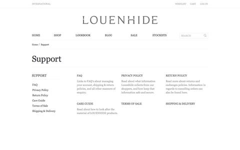 Screenshot of Support Page louenhide.com.au - Support - captured Sept. 26, 2014