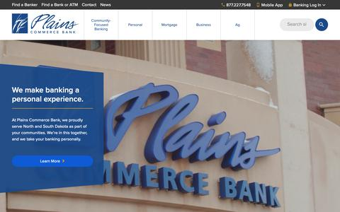 Screenshot of Home Page plainscommerce.com - Plains Commerce Bank - captured Sept. 28, 2018