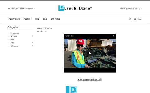 Screenshot of About Page landfilldzine.com - About Us - captured July 18, 2015