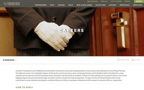 Screenshot of Jobs Page nemacolin.com - Hospitality Industry Careers | Nemacolin Woodlands Resort | Luxury Resort Jobs - captured June 3, 2016