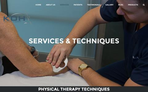 Screenshot of Services Page kohpt.com - Services - KOH Physical Therapy Lab - Irvine, CA - captured Nov. 27, 2016