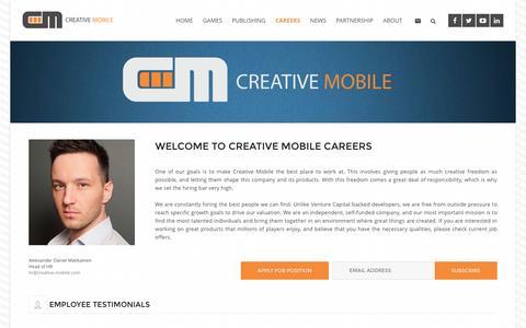 Screenshot of Jobs Page creative-mobile.com - Creative Mobile Careers - captured Oct. 1, 2016