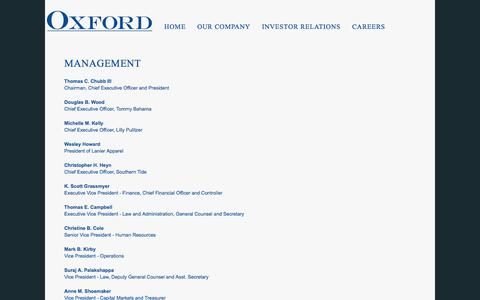 Screenshot of Team Page oxfordinc.com - MANAGEMENT | Oxford Industries Inc. - captured Oct. 25, 2017