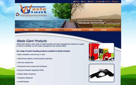 Screenshot of Products Page wastegiant.co.za - Waste Giant - Products - Waste Handling and Management Products - captured Sept. 30, 2014